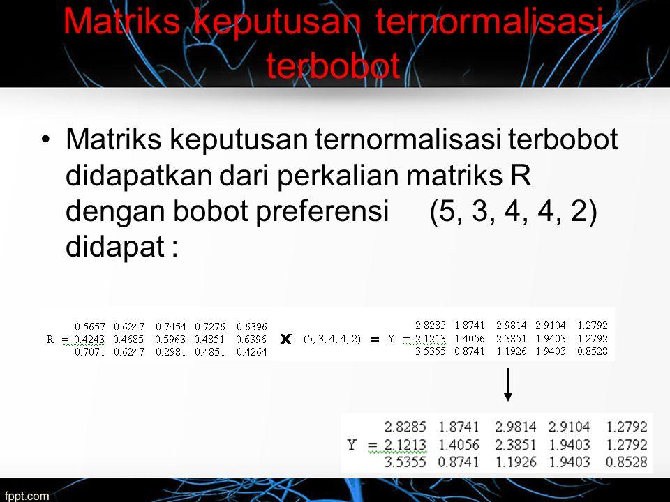 Matriks keputusan ternormalisasi terbobot