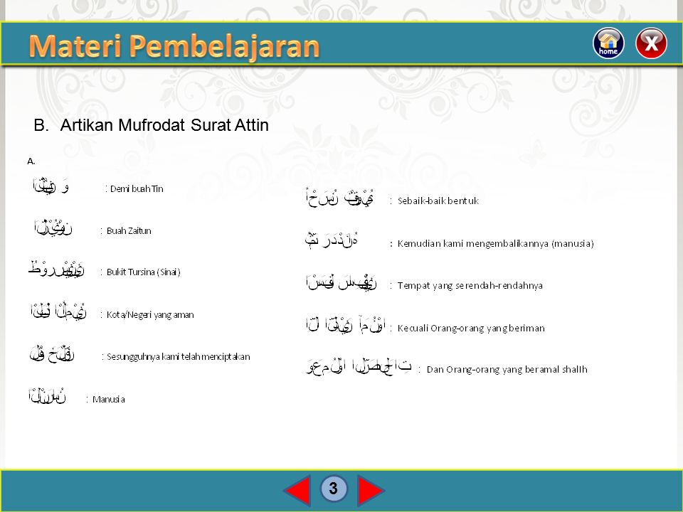 Materi Pembelajaran B. Artikan Mufrodat Surat Attin