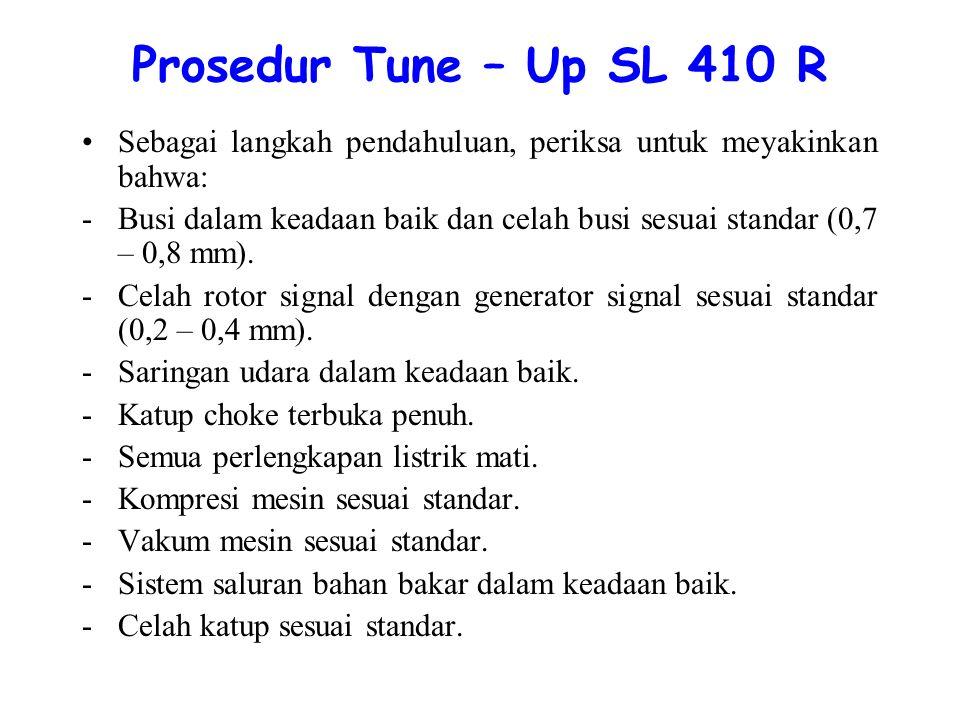 Prosedur Tune – Up SL 410 R Sebagai langkah pendahuluan, periksa untuk meyakinkan bahwa: