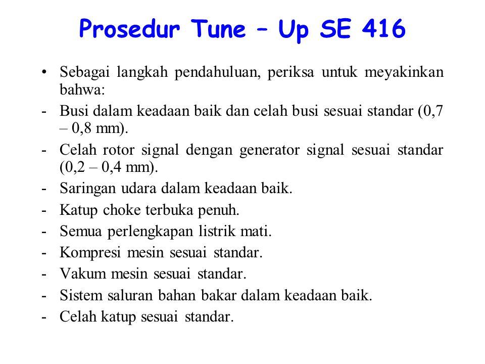 Prosedur Tune – Up SE 416 Sebagai langkah pendahuluan, periksa untuk meyakinkan bahwa:
