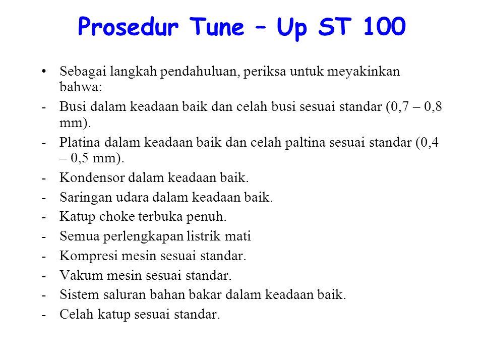 Prosedur Tune – Up ST 100 Sebagai langkah pendahuluan, periksa untuk meyakinkan bahwa: