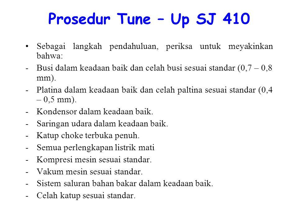 Prosedur Tune – Up SJ 410 Sebagai langkah pendahuluan, periksa untuk meyakinkan bahwa:
