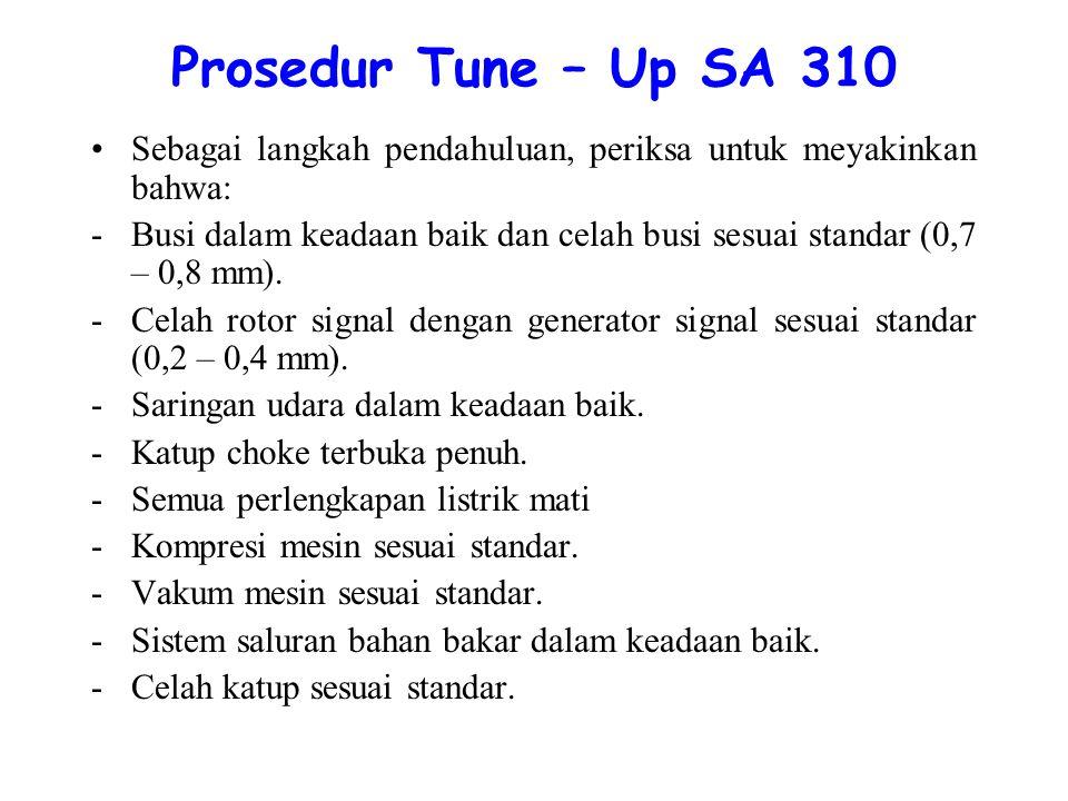 Prosedur Tune – Up SA 310 Sebagai langkah pendahuluan, periksa untuk meyakinkan bahwa: