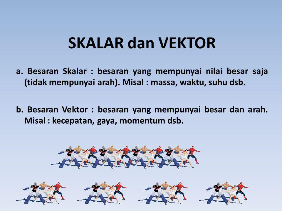 SKALAR dan VEKTOR a. Besaran Skalar : besaran yang mempunyai nilai besar saja (tidak mempunyai arah). Misal : massa, waktu, suhu dsb.