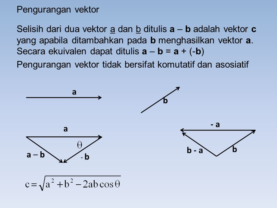 Pengurangan vektor tidak bersifat komutatif dan asosiatif