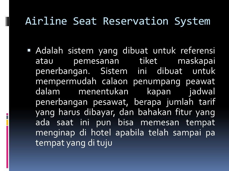 Airline Seat Reservation System