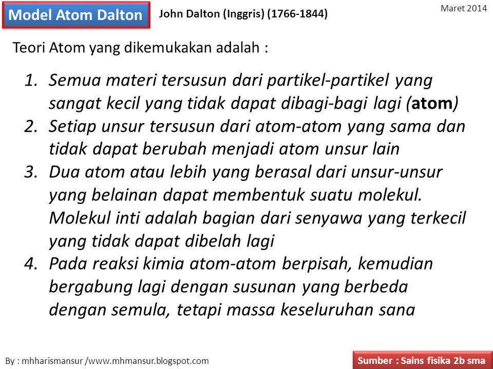 Model Atom Dalton Maret 2014. John Dalton (Inggris) (1766-1844) Teori Atom yang dikemukakan adalah :
