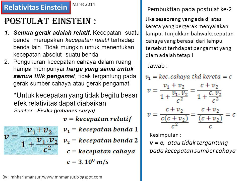 Postulat Einstein : Relativitas Einstein Pembuktian pada postulat ke-2