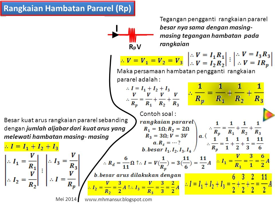 I I1 I I2 I3 Rangkaian Hambatan Pararel (Rp) V1 R1 V2 R2 V3 R3 V Rp