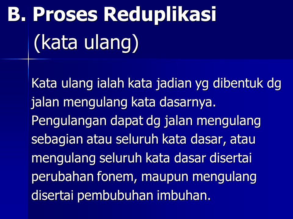 (kata ulang) B. Proses Reduplikasi
