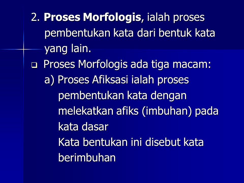 2. Proses Morfologis, ialah proses