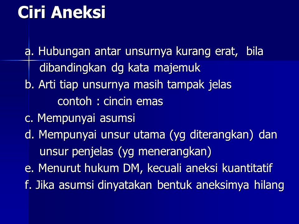 Ciri Aneksi a. Hubungan antar unsurnya kurang erat, bila