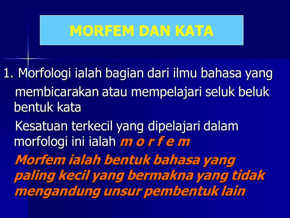MORFEM DAN KATA 1. Morfologi ialah bagian dari ilmu bahasa yang