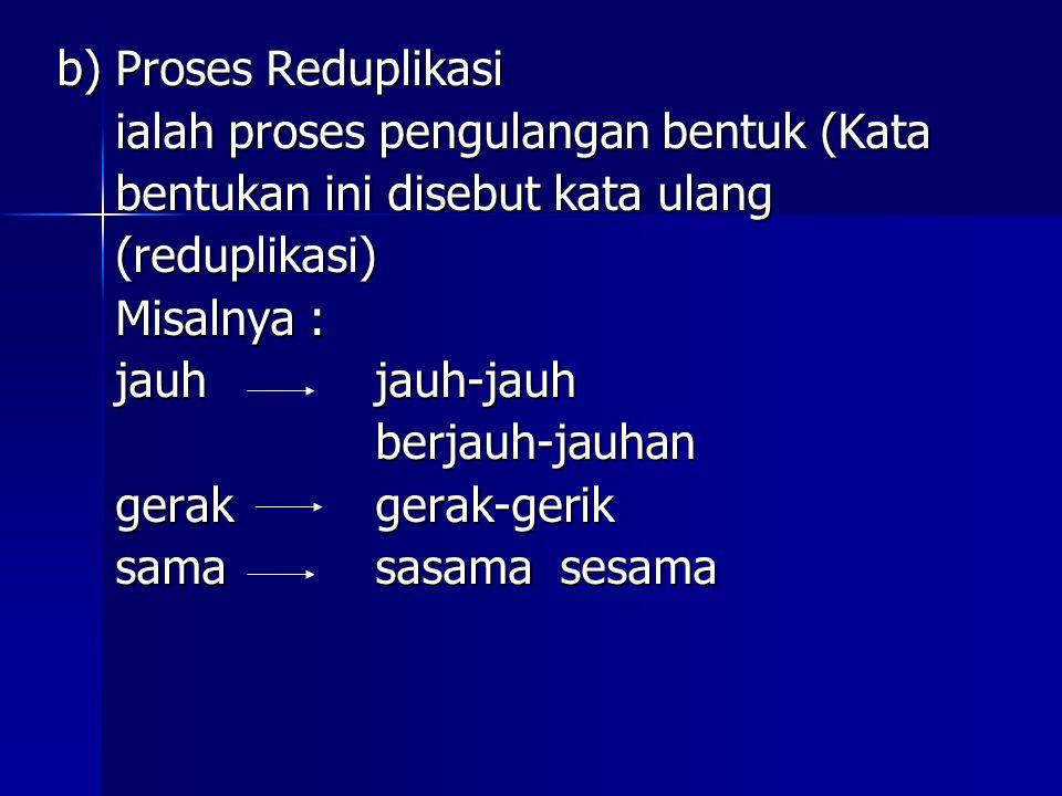 b) Proses Reduplikasi ialah proses pengulangan bentuk (Kata. bentukan ini disebut kata ulang. (reduplikasi)