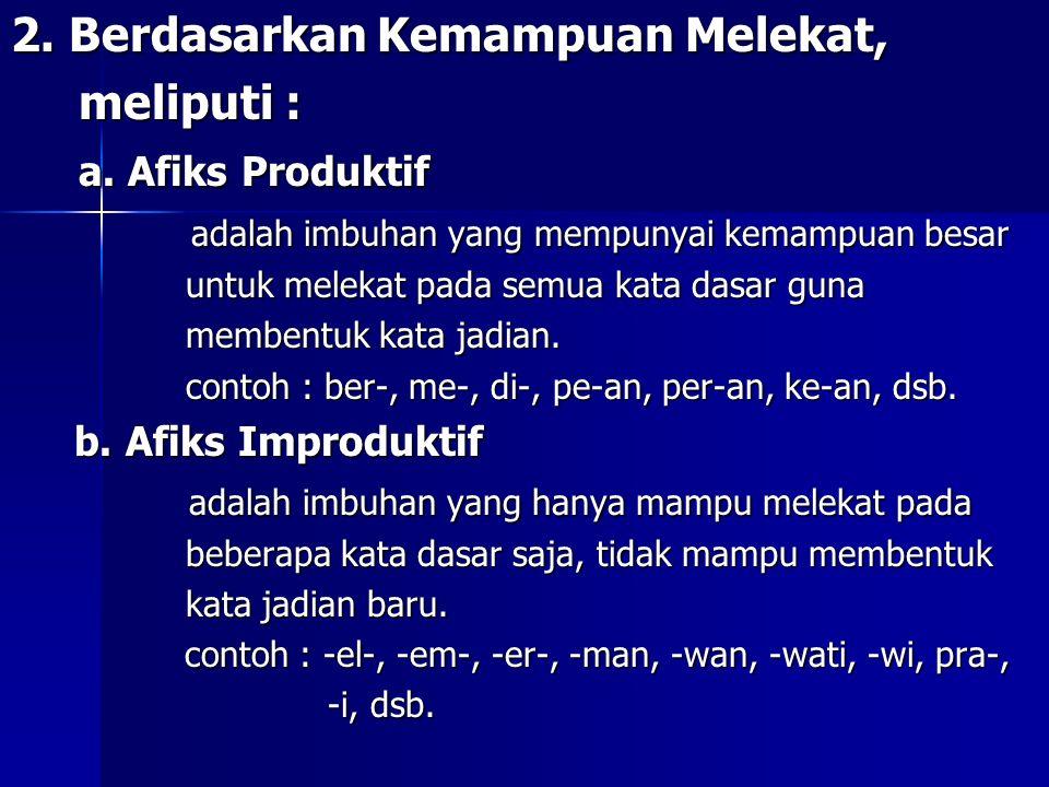 c 2. Berdasarkan Kemampuan Melekat, meliputi : a. Afiks Produktif