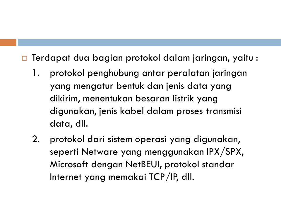 Terdapat dua bagian protokol dalam jaringan, yaitu :