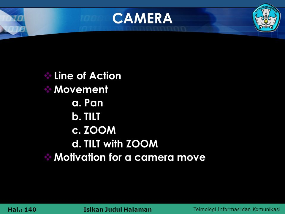 CAMERA Line of Action Movement a. Pan b. TILT c. ZOOM