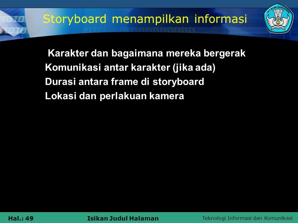 Storyboard menampilkan informasi