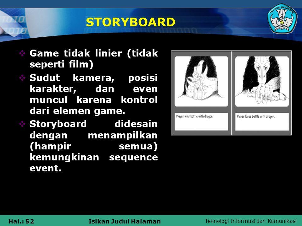 STORYBOARD Game tidak linier (tidak seperti film)