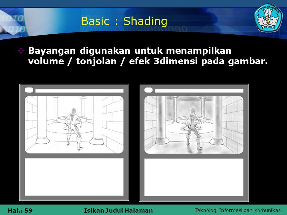 Basic : Shading Bayangan digunakan untuk menampilkan volume / tonjolan / efek 3dimensi pada gambar.