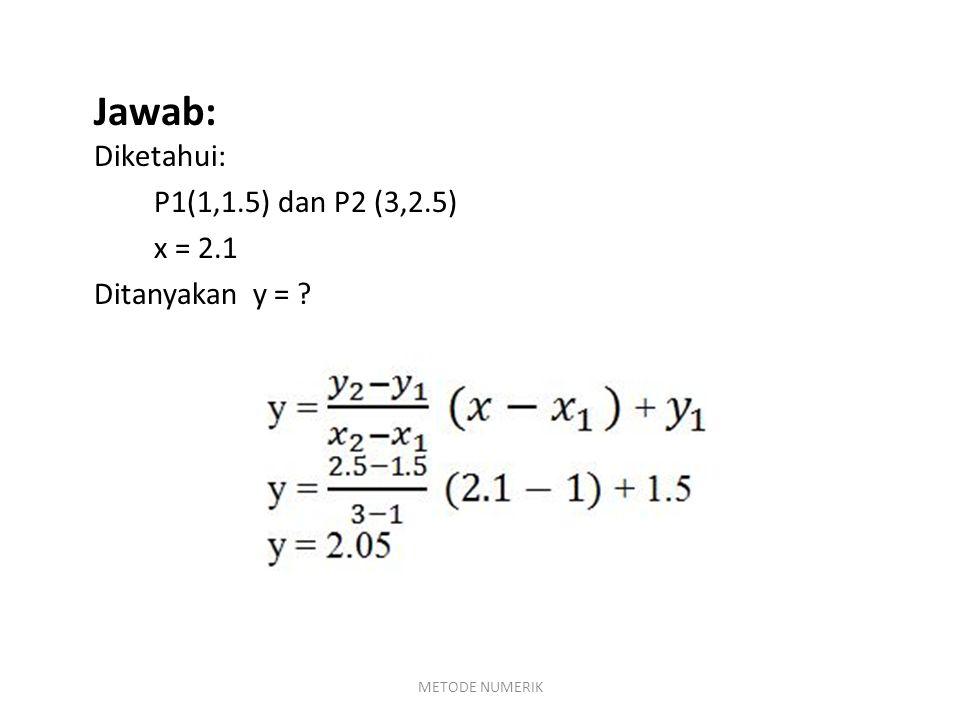Jawab: Diketahui: P1(1,1.5) dan P2 (3,2.5) x = 2.1 Ditanyakan y =