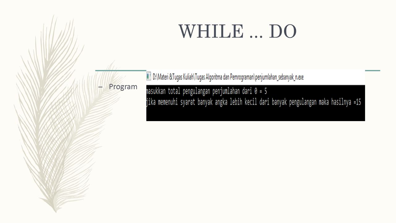 WHILE ... DO Program