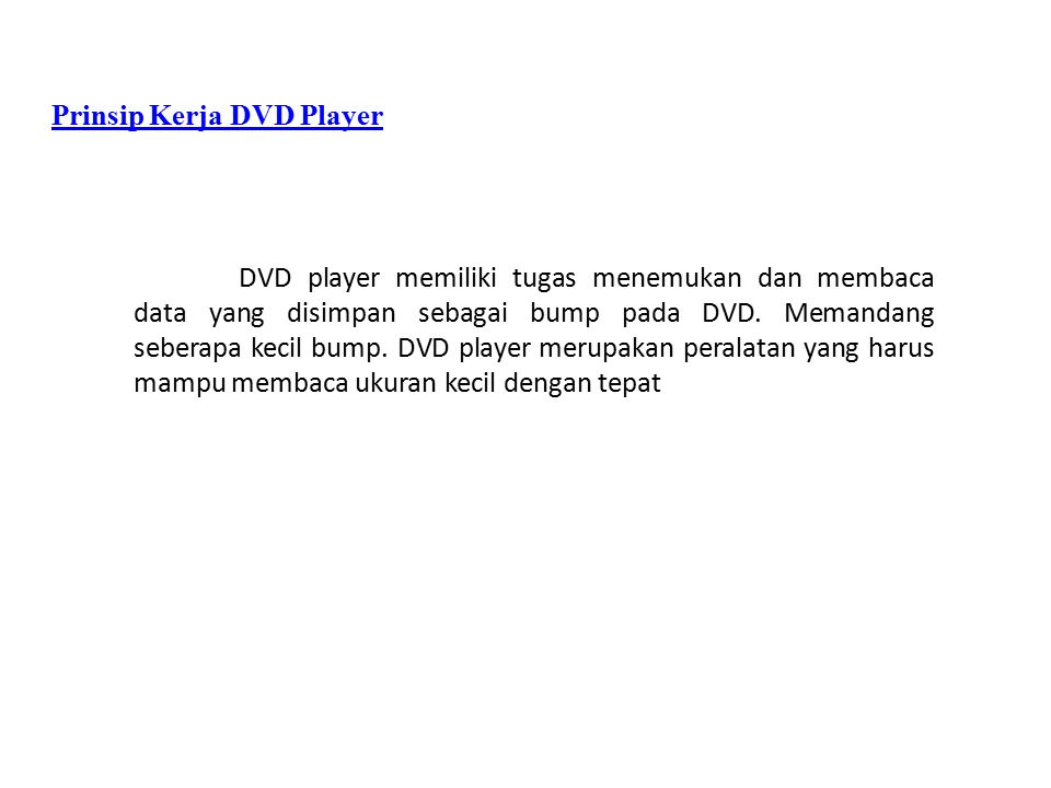 Prinsip Kerja DVD Player