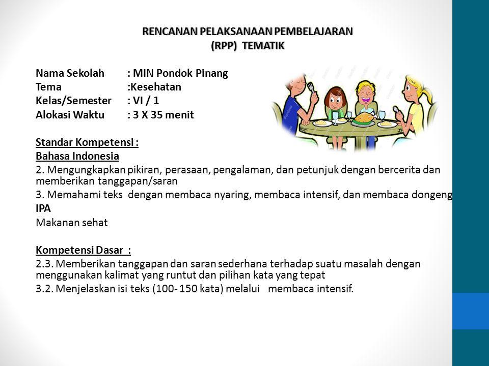 Rencanan Pelaksanaan Pembelajaran (RPP) Tematik Nama Sekolah : MIN Pondok Pinang Tema :Kesehatan Kelas/Semester : VI / 1 Alokasi Waktu : 3 X 35 menit Standar Kompetensi : Bahasa Indonesia 2.