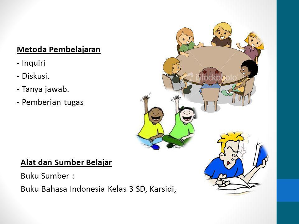 Metoda Pembelajaran - Inquiri - Diskusi. - Tanya jawab