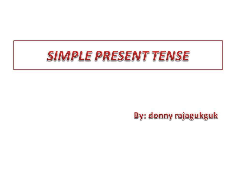SIMPLE PRESENT TENSE By: donny rajagukguk