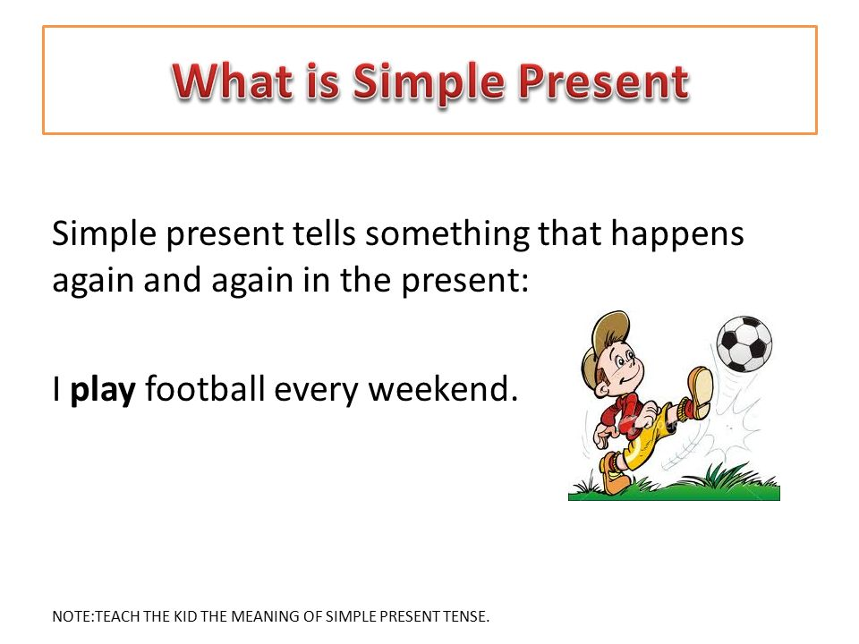 What is Simple Present Simple present tells something that happens again and again in the present: I play football every weekend.