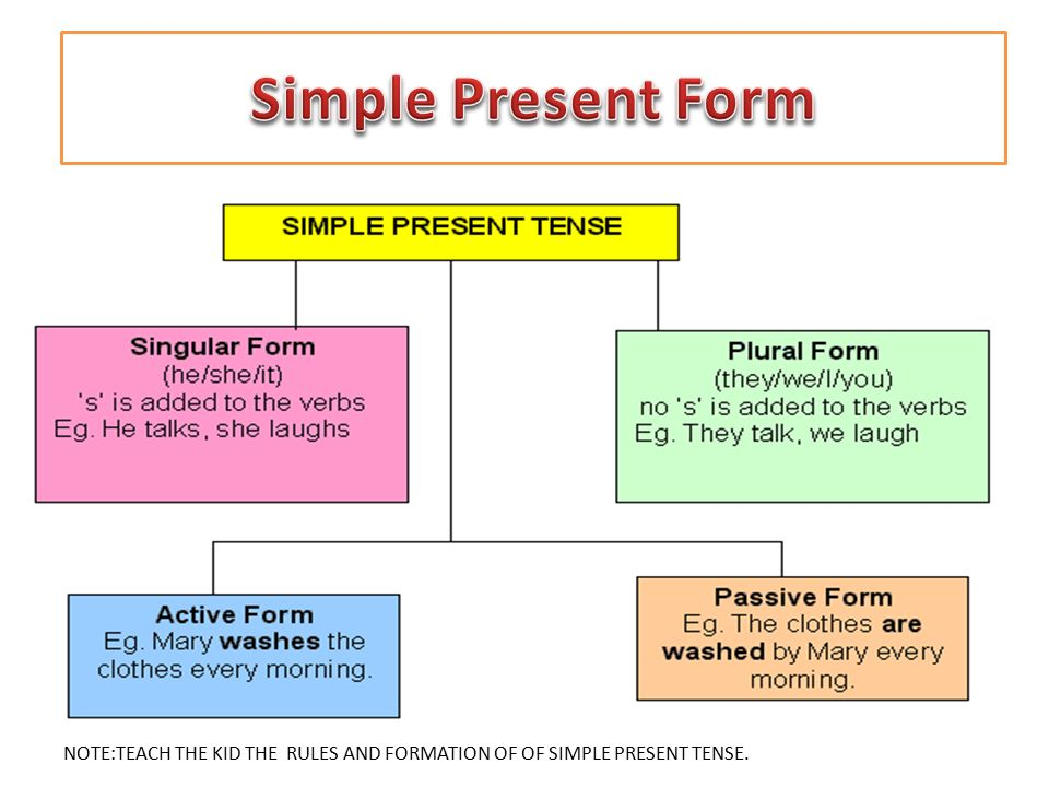 Simple Present Form NOTE:TEACH THE KID THE RULES AND FORMATION OF OF SIMPLE PRESENT TENSE.