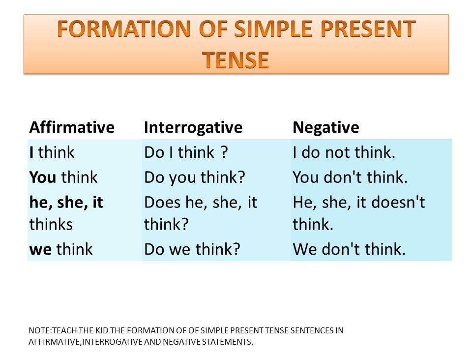 FORMATION OF SIMPLE PRESENT TENSE