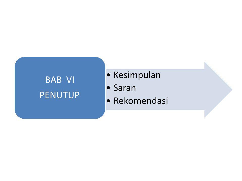 BAB VI PENUTUP Kesimpulan Saran Rekomendasi