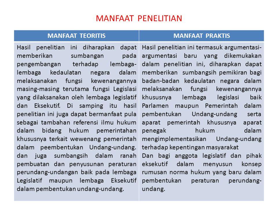 MANFAAT PENELITIAN MANFAAT TEORITIS MANFAAT PRAKTIS