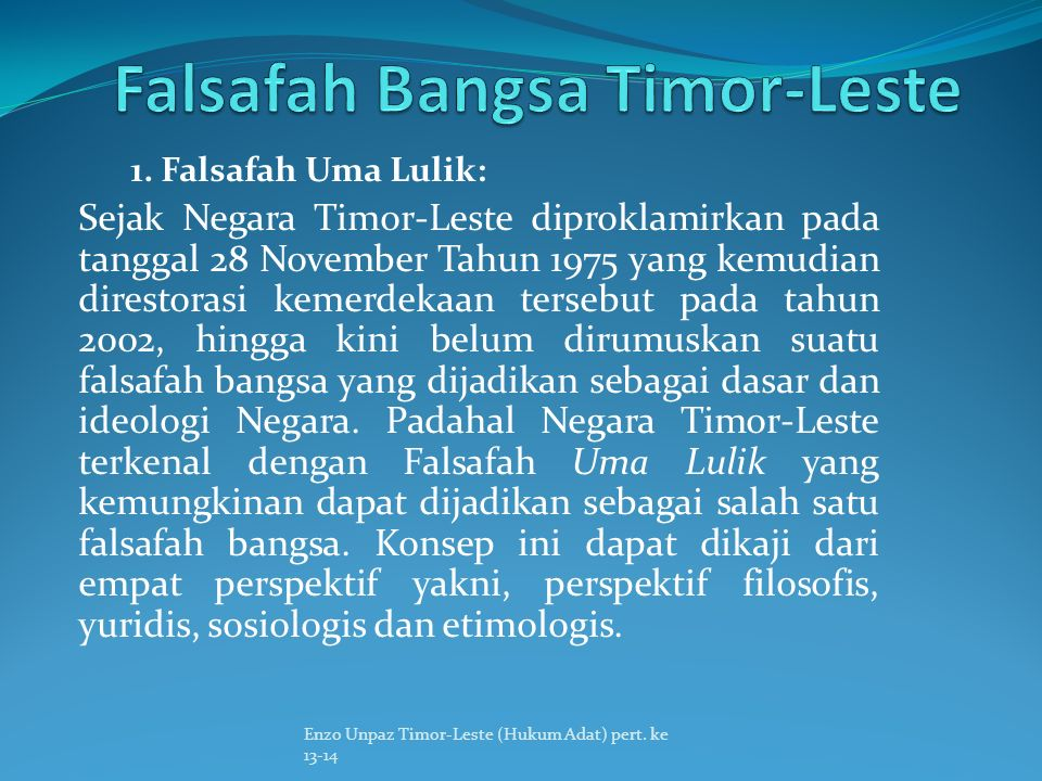 Falsafah Bangsa Timor-Leste