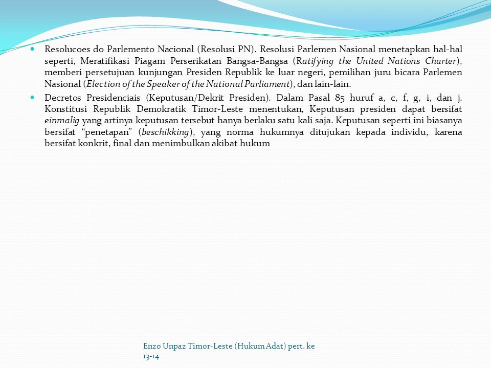 Resolucoes do Parlemento Nacional (Resolusi PN)