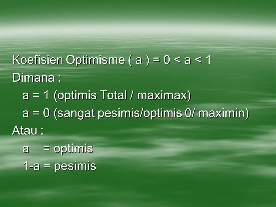 Koefisien Optimisme ( a ) = 0 < a < 1