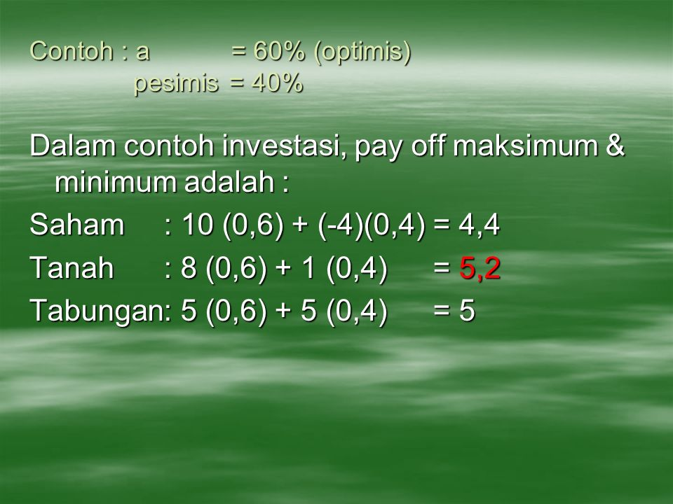 Contoh : a = 60% (optimis) pesimis = 40%