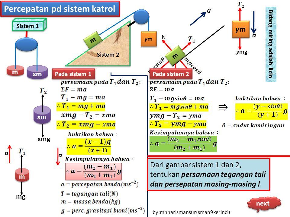 Percepatan pd sistem katrol