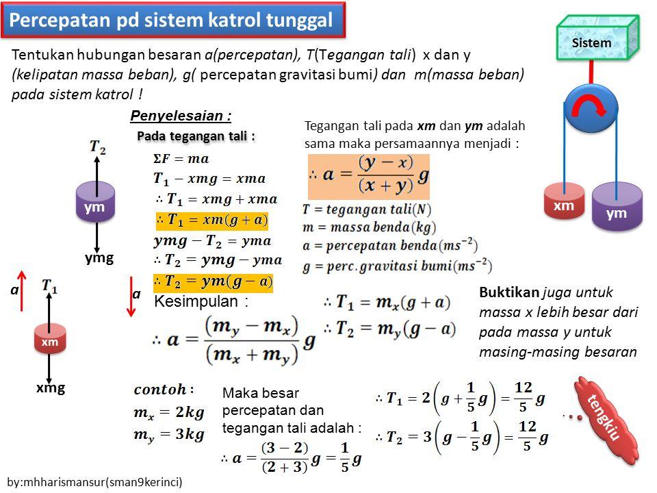 Percepatan pd sistem katrol tunggal