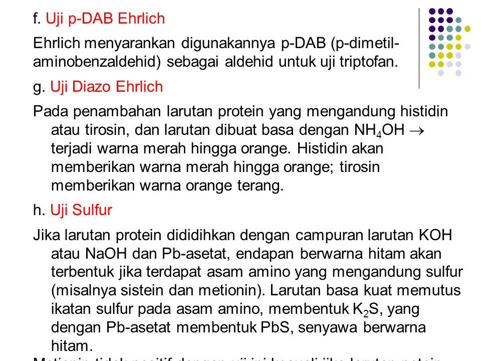 f. Uji p-DAB Ehrlich Ehrlich menyarankan digunakannya p-DAB (p-dimetil- aminobenzaldehid) sebagai aldehid untuk uji triptofan.