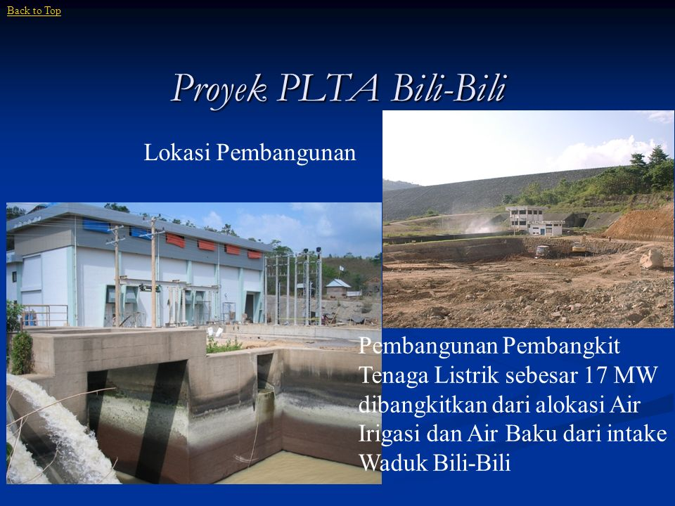 Proyek PLTA Bili-Bili Lokasi Pembangunan
