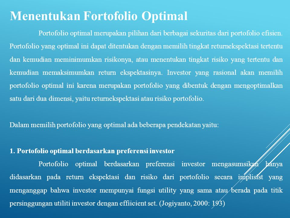 Menentukan Fortofolio Optimal