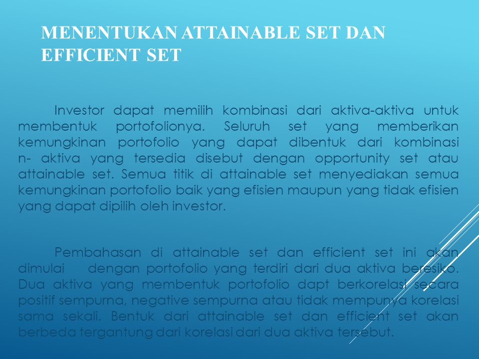 MENENTUKAN ATTAINABLE SET DAN EFFICIENT SET