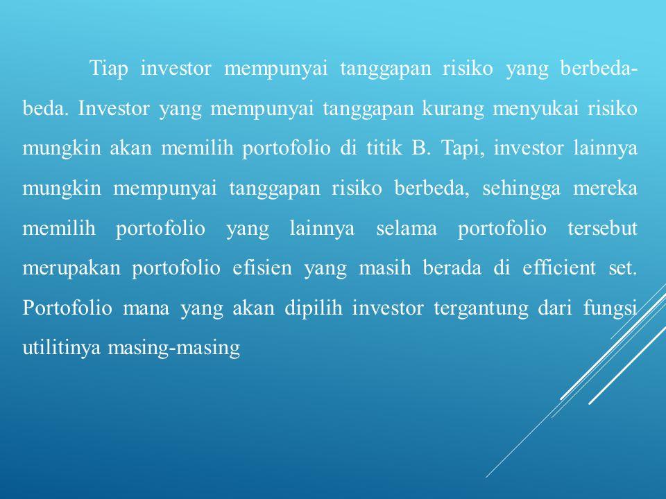 Tiap investor mempunyai tanggapan risiko yang berbeda-beda