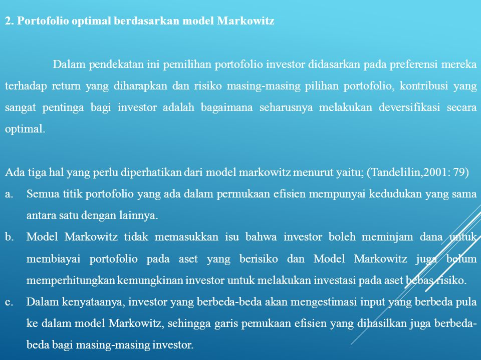 2. Portofolio optimal berdasarkan model Markowitz