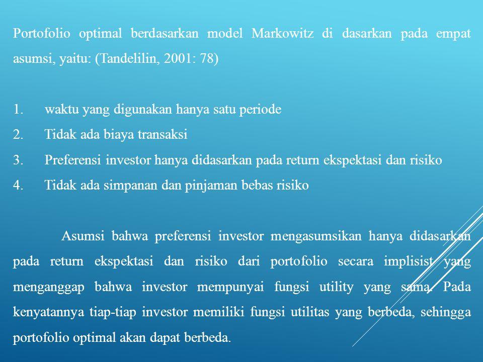 Portofolio optimal berdasarkan model Markowitz di dasarkan pada empat asumsi, yaitu: (Tandelilin, 2001: 78)