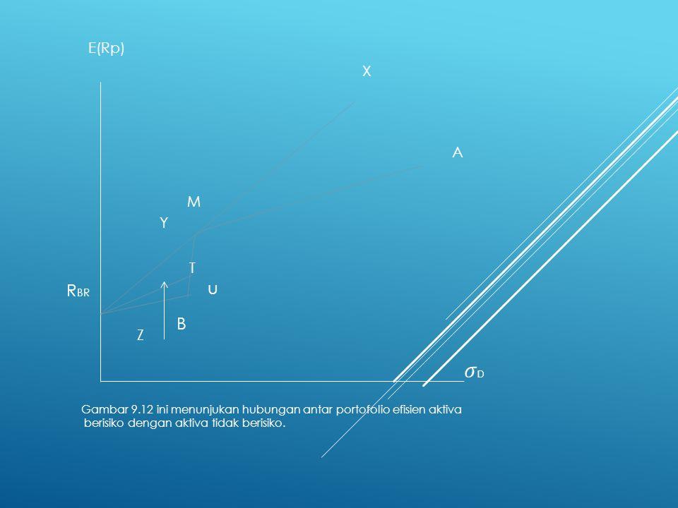 u T. Y. M. Z. E(Rp) X. A. RBR. Gambar 9.12 ini menunjukan hubungan antar portofolio efisien aktiva.
