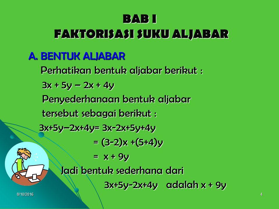 BAB I FAKTORISASI SUKU ALJABAR
